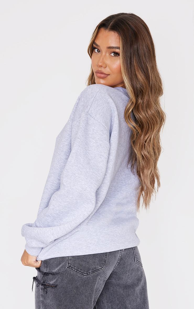 PRETTYLITTLETHING Ash Grey Marl Oversized Sweatshirt 2