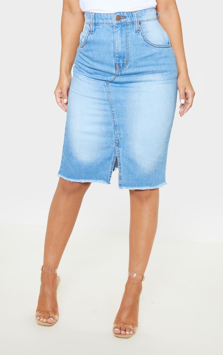 Petite - Jupe mi-longue en jean très délavé  2