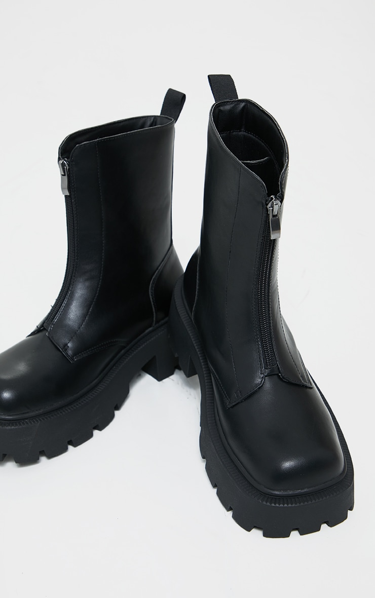 Black Chunky Zip Front Hiker Biker Boot 3
