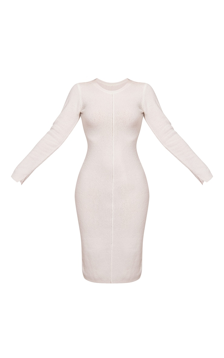 Recycled Cream Knitted Seam Front Midaxi Dress 5