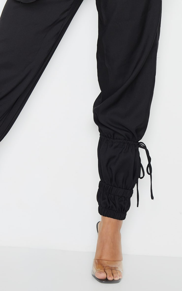 Black Woven High Waist Tie Detail Pants 4