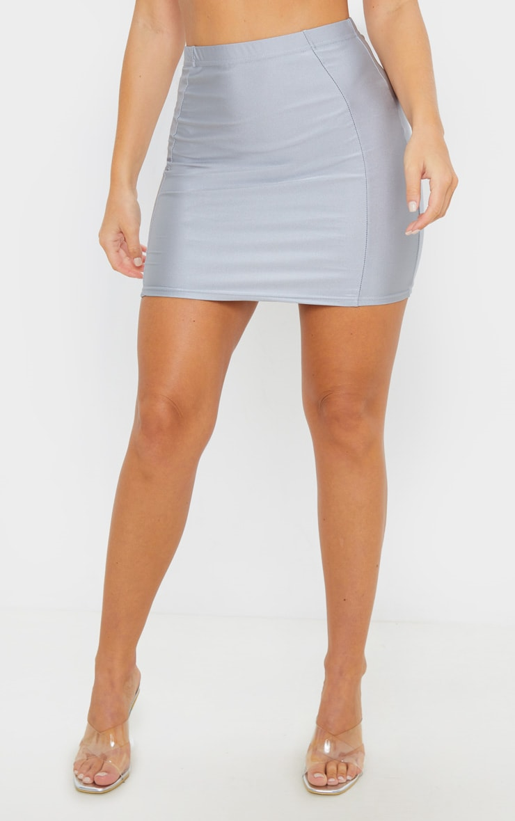 Silver Disco Seam Front Mini Skirt 2