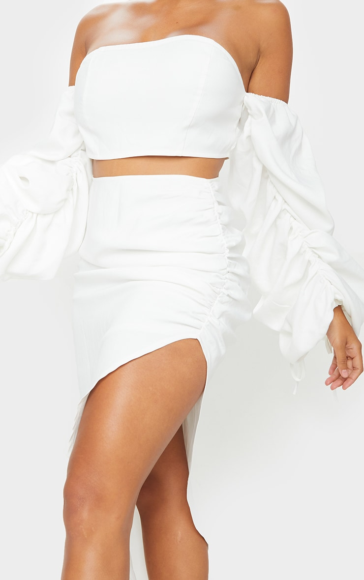 Shape White Ruched Front Midi Skirt 4