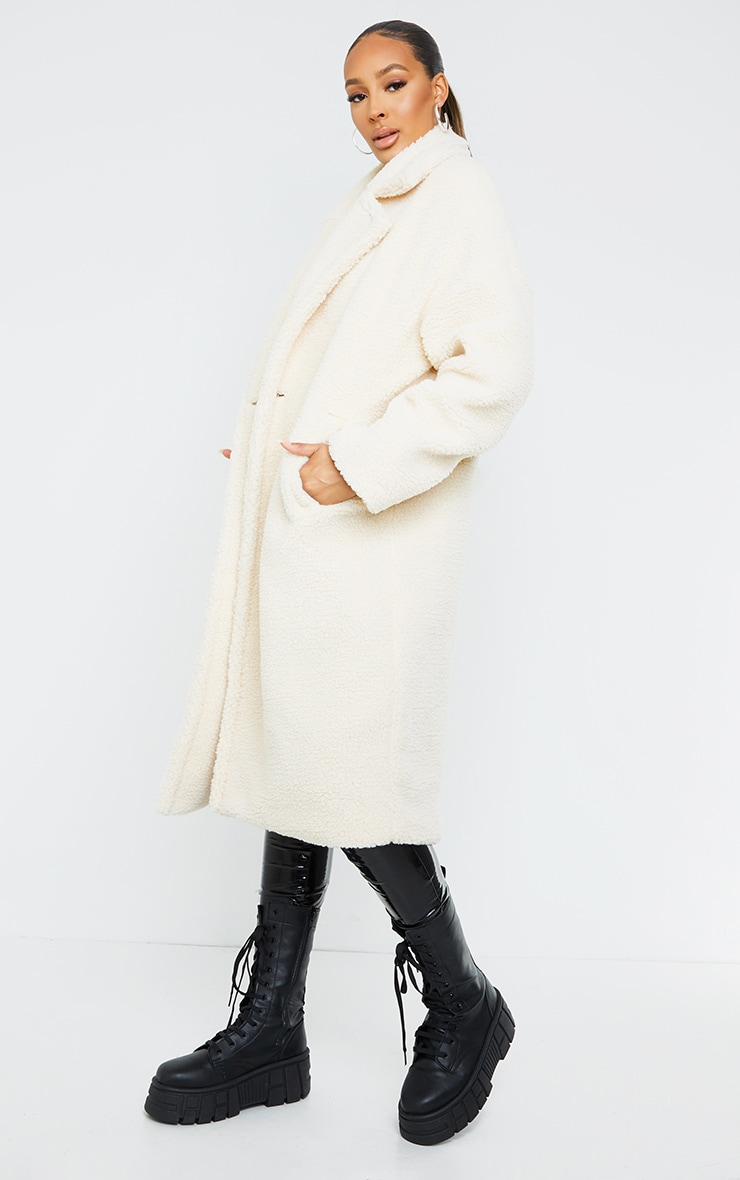 White Borg Lapel Drop Arm Maxi Coat 3