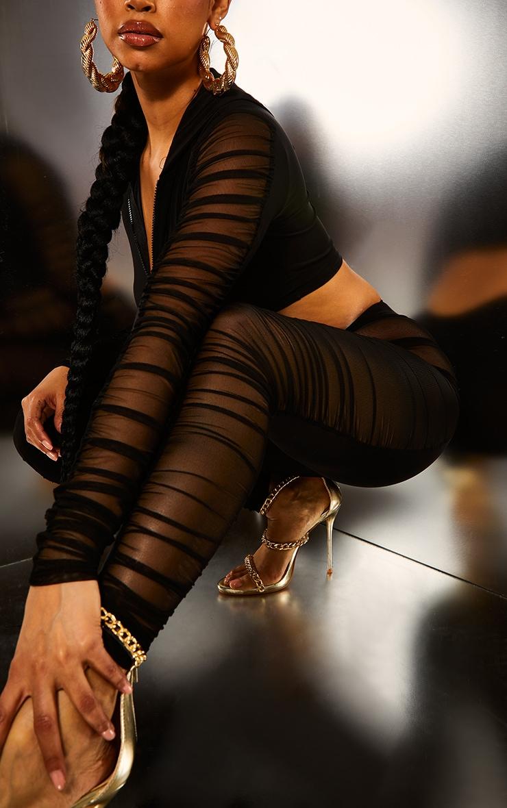 Black Mesh Side Panel Leggings 5