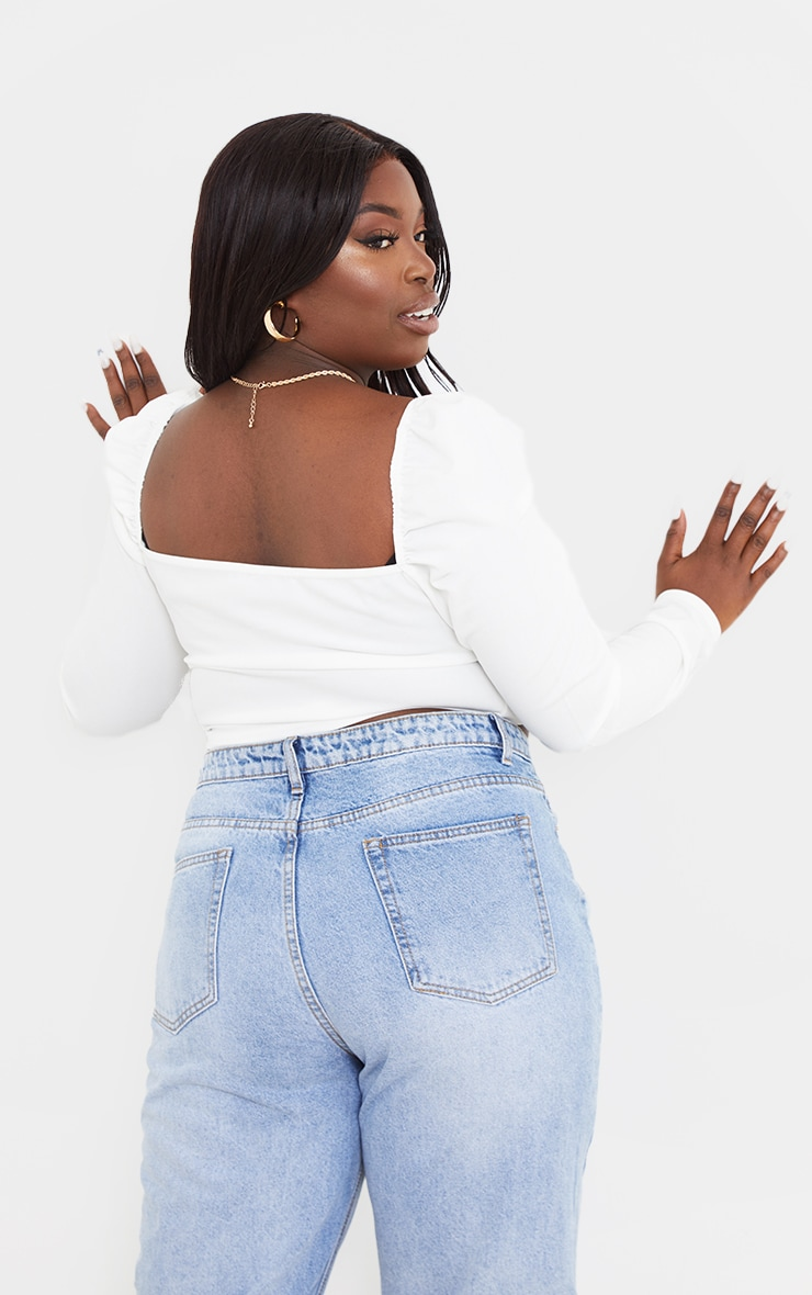 Plus White Ruched Front Crop Top 2