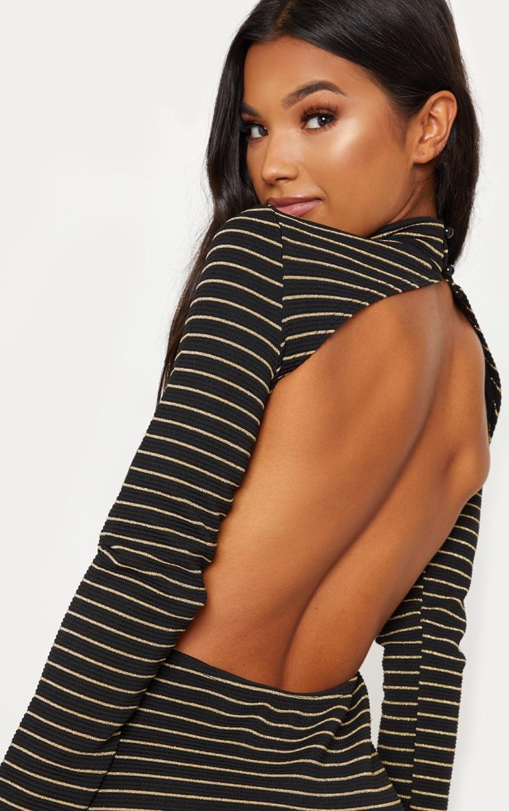Black Ribbed Stripe High Neck Scoop Back Bodycon Dress 5