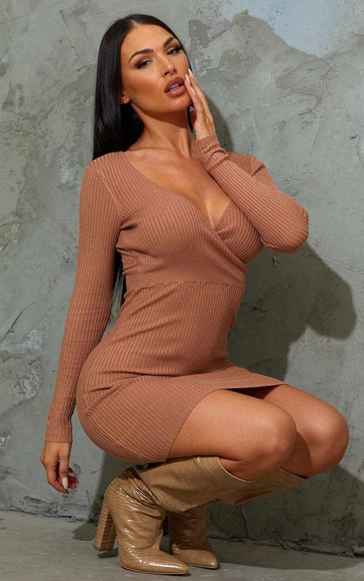 Camel Skinny Ribbed Knitted Wrap Front Bodycon Dress 3