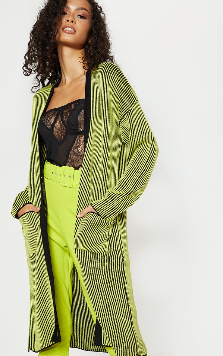 Lime Two Tone Knitted Cardigan  1