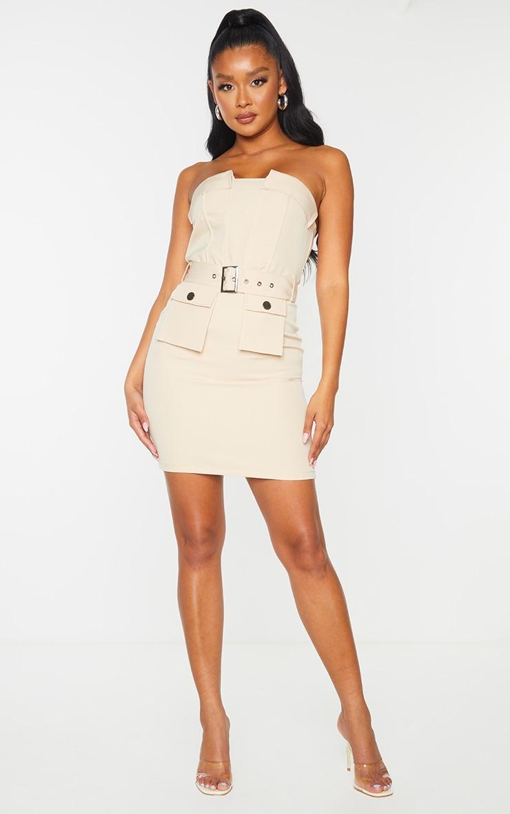 Nude Bandeau Belted Pocket Detail Bodycon Dress 3