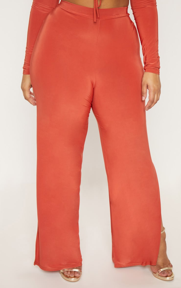 Plus Rust Slinky Wide Leg Trousers 2