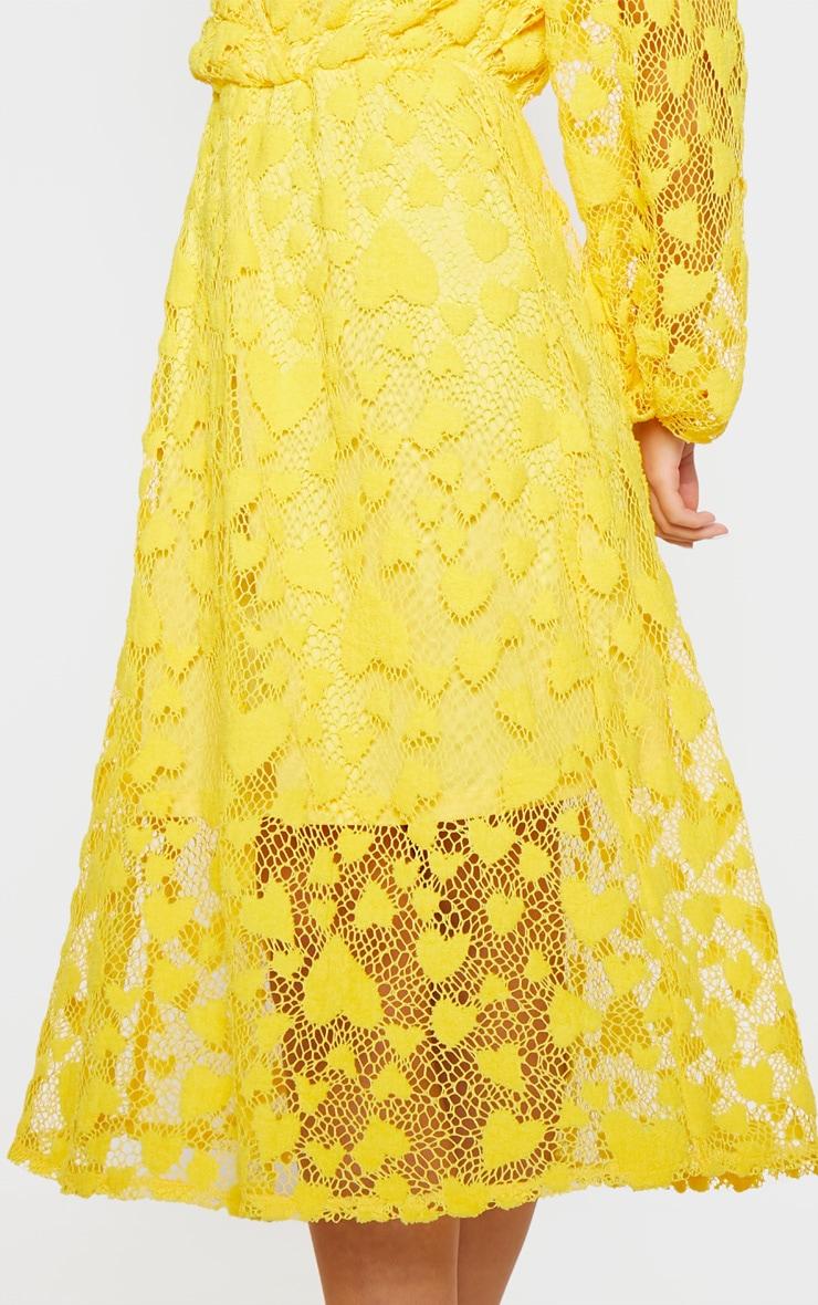 Bright Yellow Heart Pattern Net Midi Dress 5