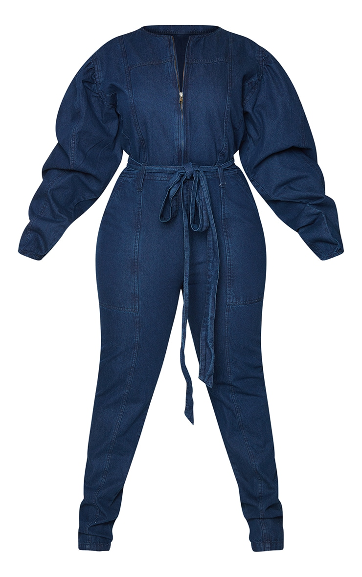 Plus Indigo Zip Detail Belted Denim Jumpsuit 5