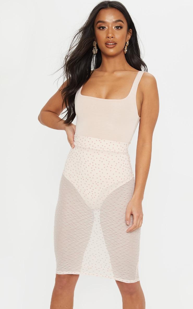 Petite Nude Mesh Polkadot Midi Fitted Skirt 5