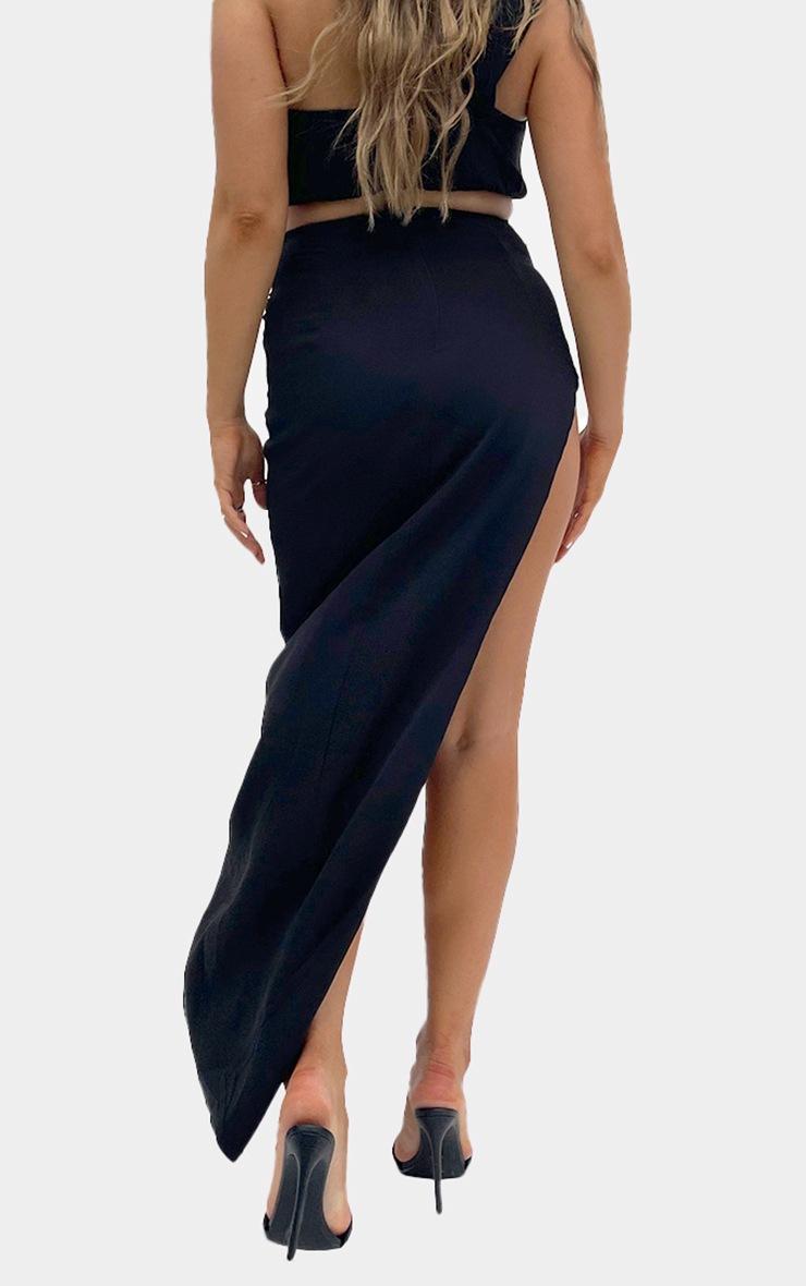 Black Woven Split Leg Maxi Skirt 3