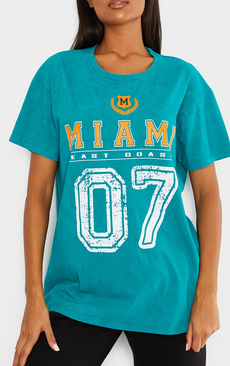 Teal Miami Distressed Print Washed T Shirt 4