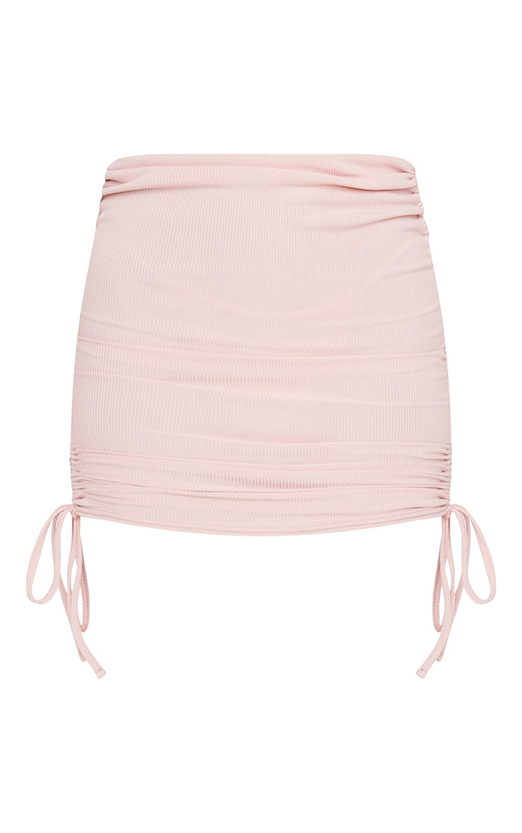 Pink Ribbed Ruched Mini Skirt 6