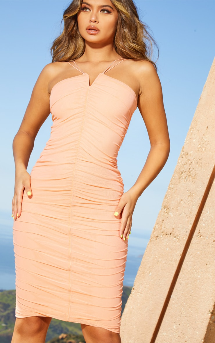 Peach Second Skin Ruched Mesh Double Strap Midi Dress 5