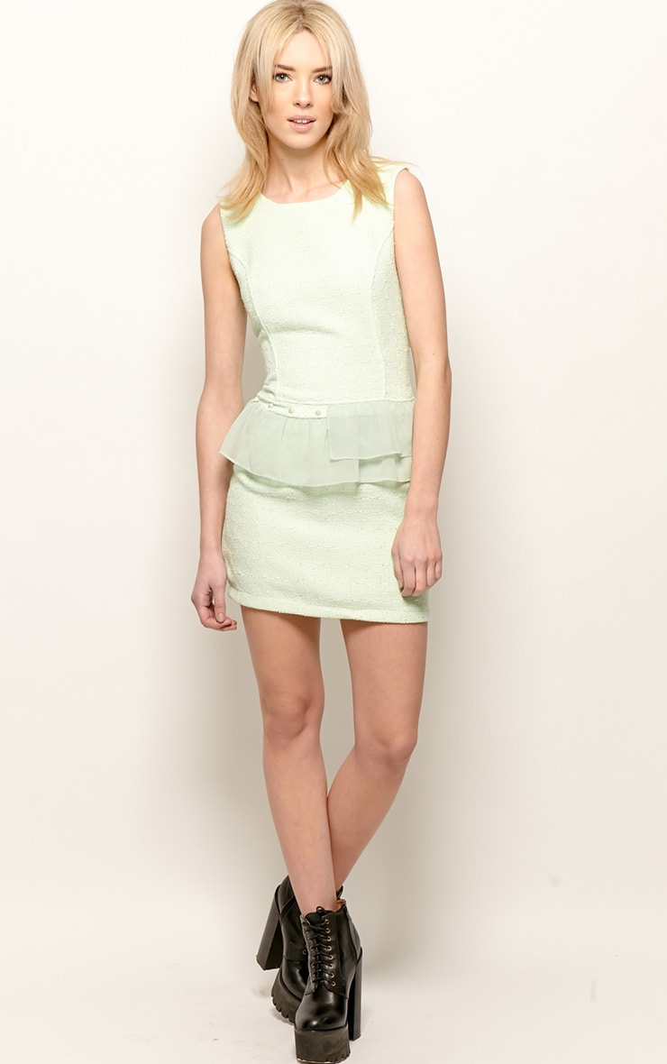 Lola Mint Boucle Peplum Dress  3