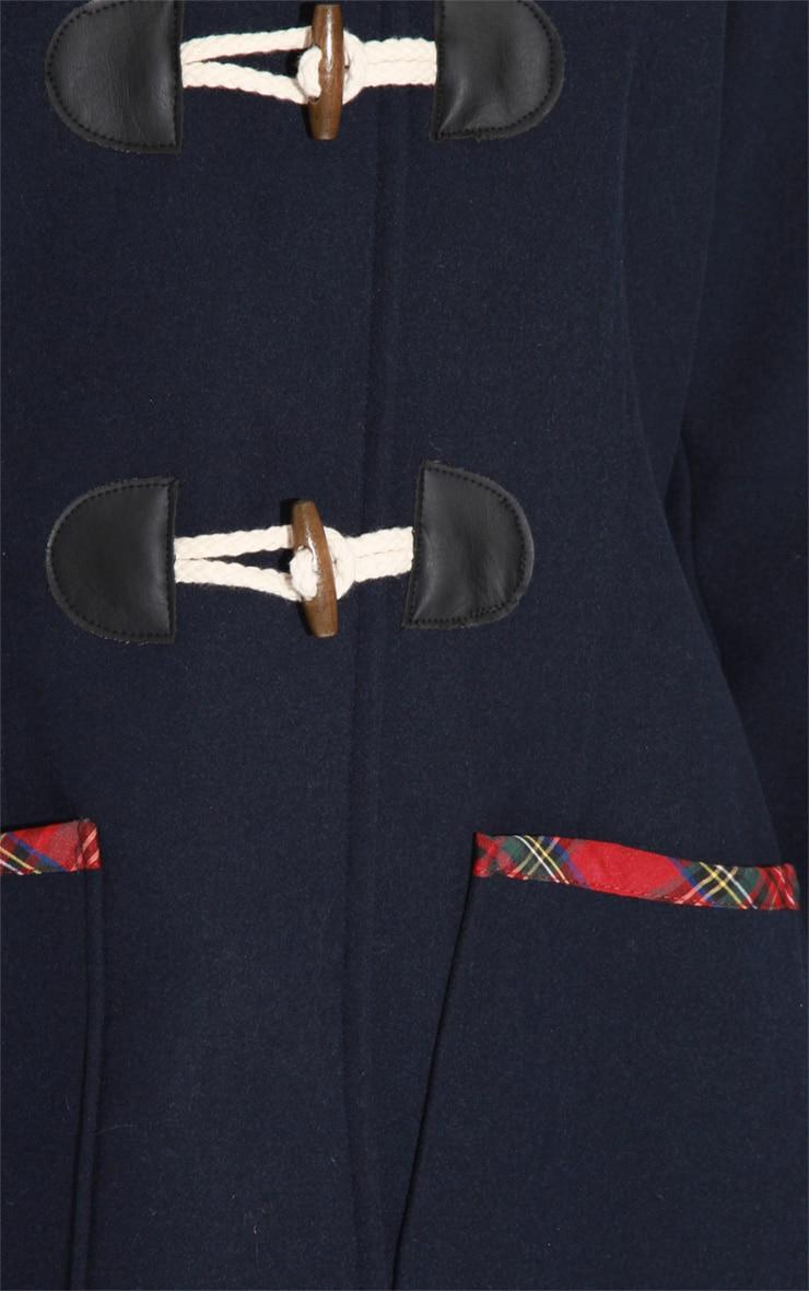 Rachel Navy Tartan Trim Duffle Coat 6