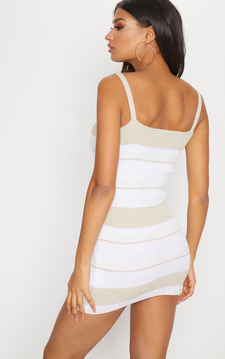 Stone Rib Knit Straight Neck Stripe Dress 2
