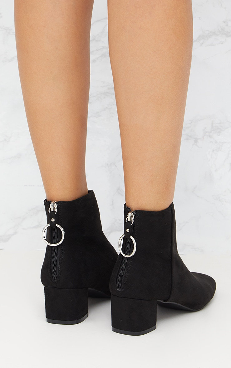 Black Faux Suede Ring Zip Ankle Boots 4