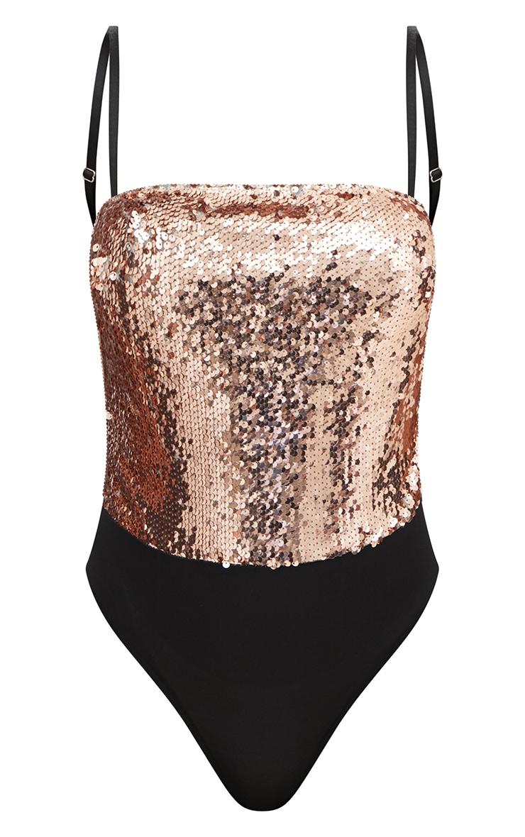 Rose Gold Sequin Mesh Back Thong Bodysuit  2