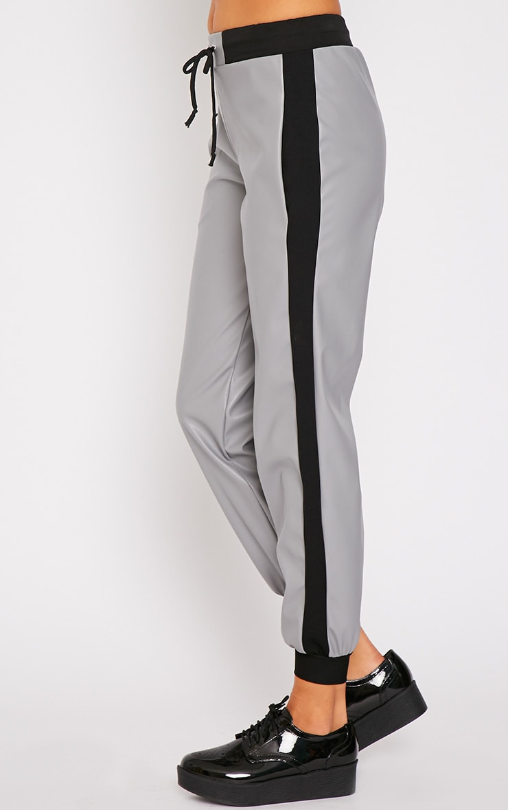Carmen Grey Faux Leather Joggers 3