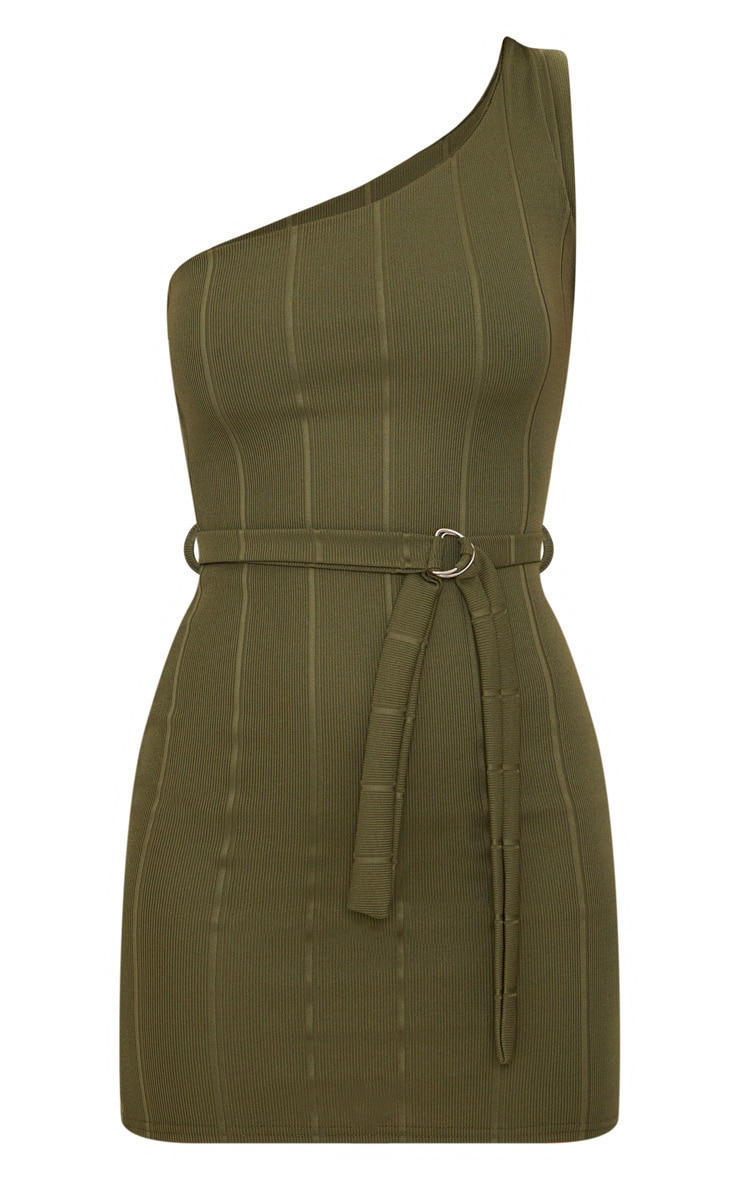 Khaki Bandage One Shoulder Belt Detail Bodycon Dress 3