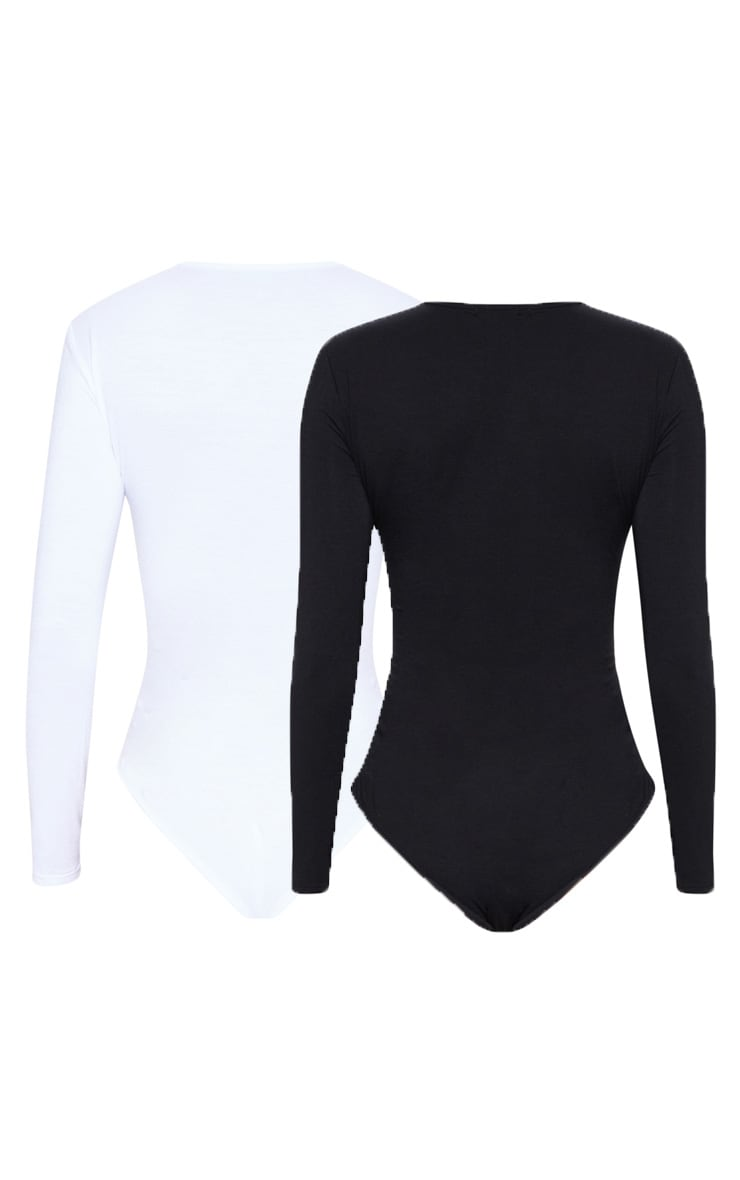 Basic Black & White 2 Pack Crew Neck Long Sleeve Bodysuit 3