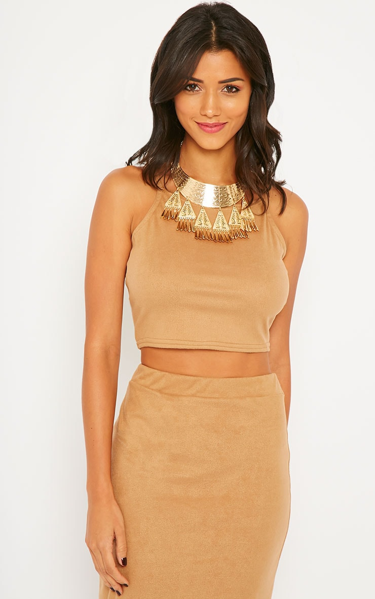 Amanda Camel Suede Crop Top 4