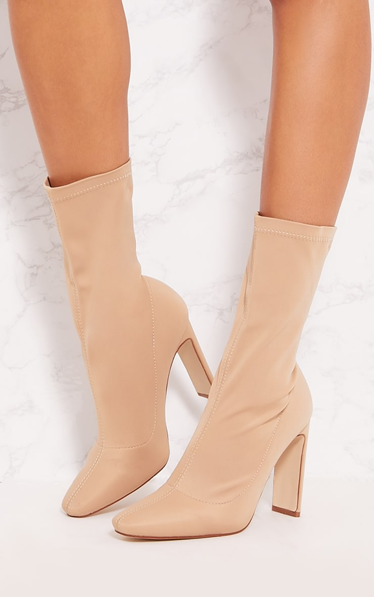 Sand Lycra Heeled Sock Boot 4