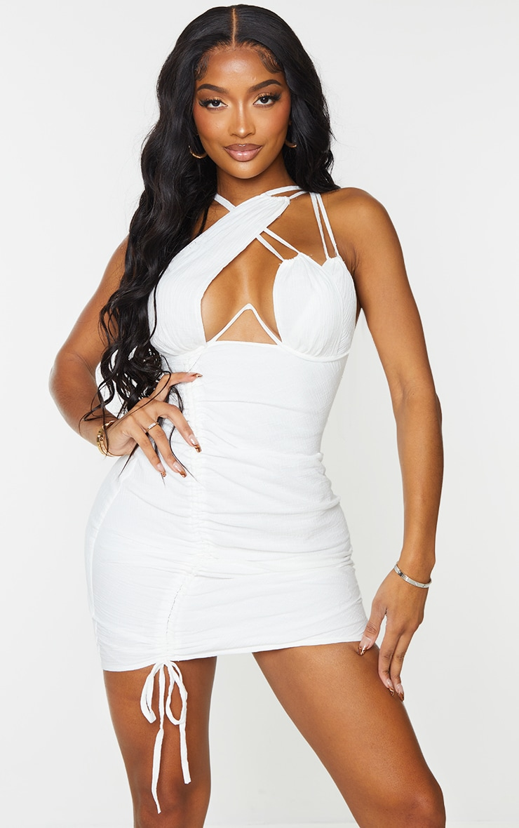Shape Cream Woven Cup Detail Ruched Side Bodycon Dress 1
