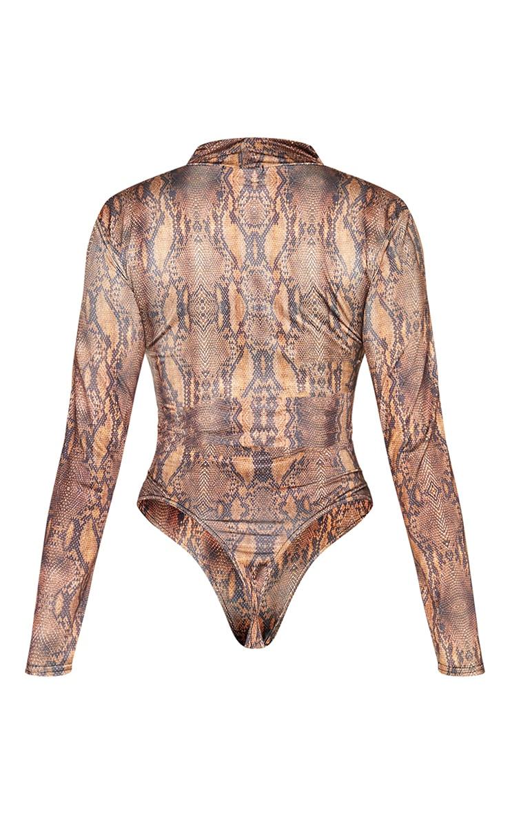Brown Snake Print Jersey Draped High Neck Bodysuit 6