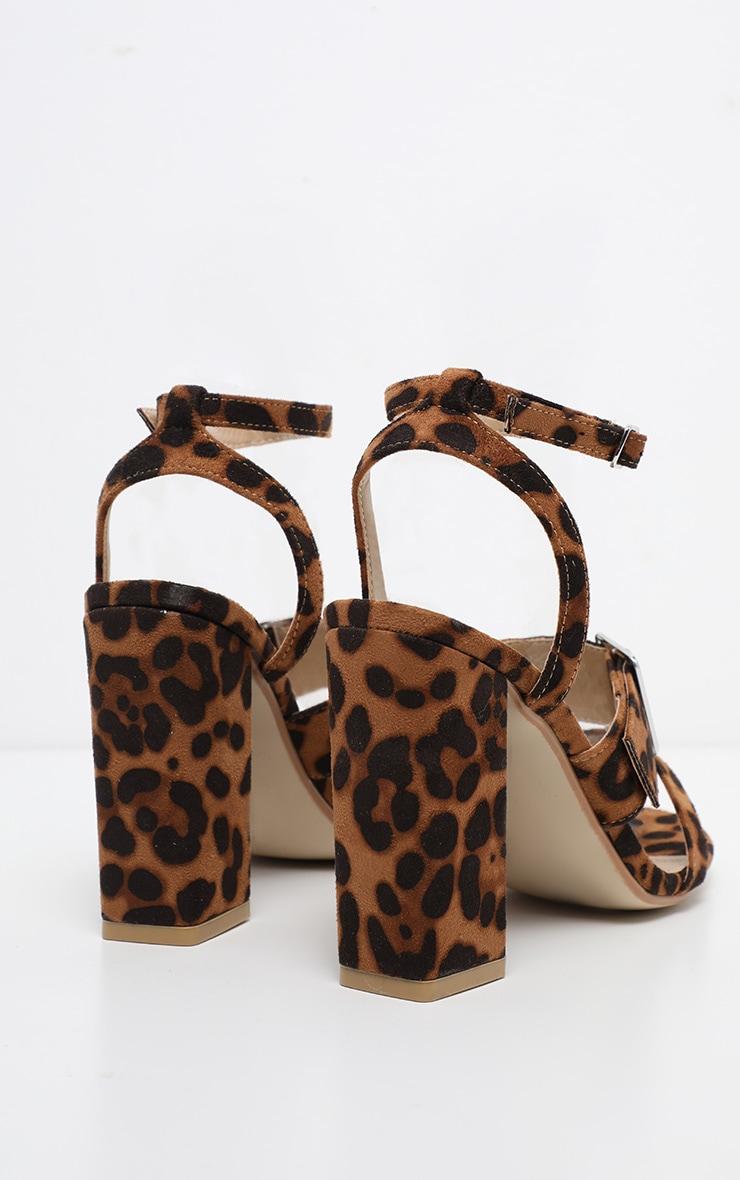 Leopard Buckle Strap Block Heel Sandal 4