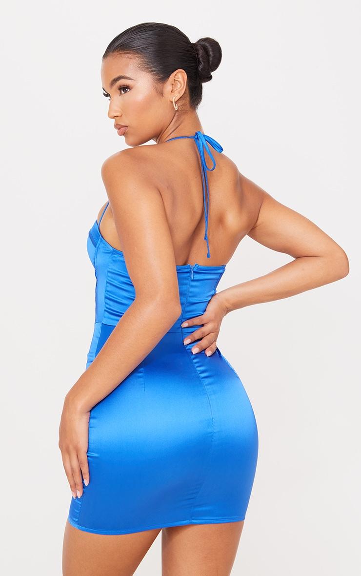 Blue Strappy Corset Detail Halterneck Bodycon Dress 2