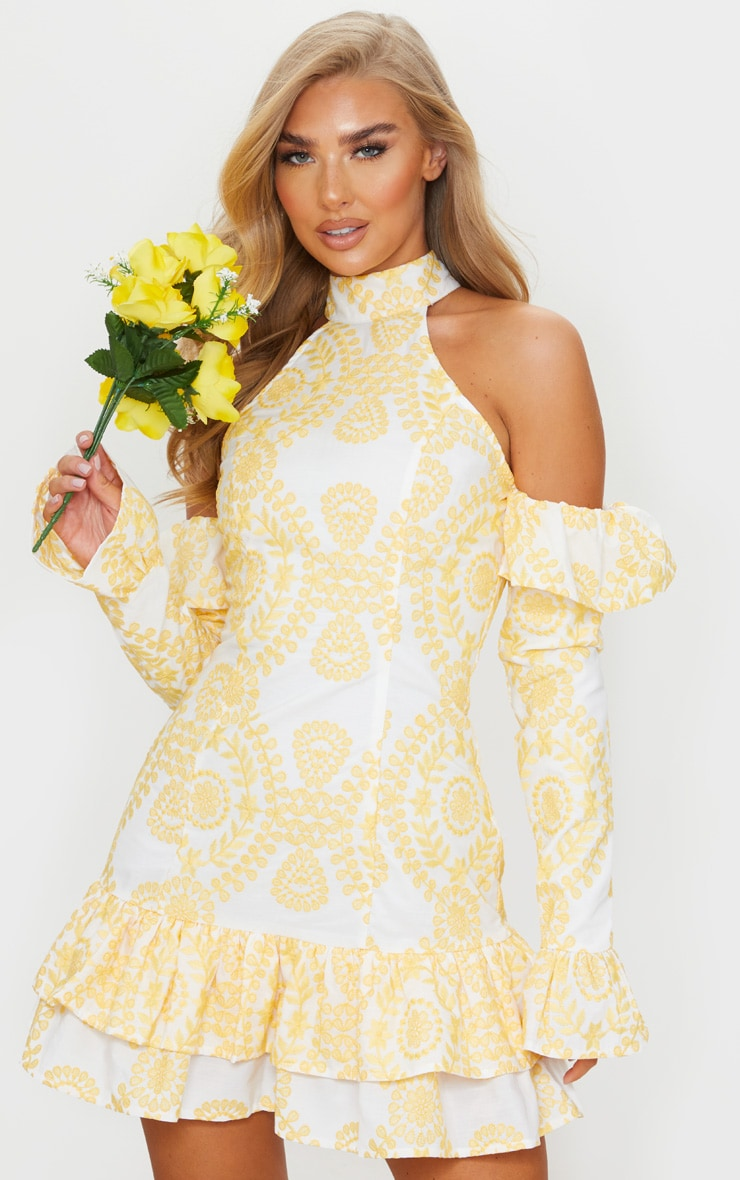 Yellow Broderie Anglaise High Neck Frill Detail Bodycon Dress 3