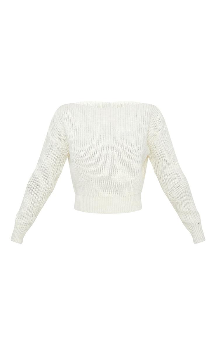 Cream Slash Neck Crop Knitted Jumper 3