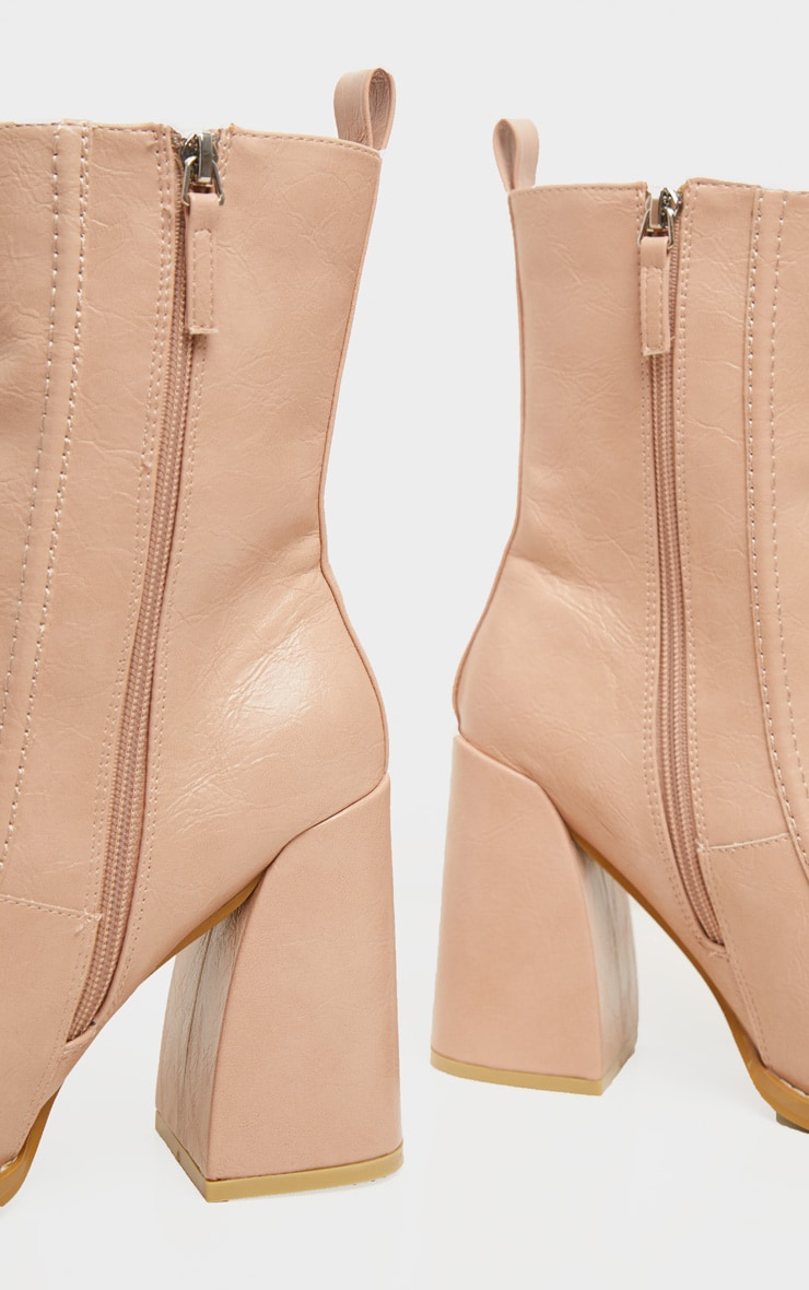 Nude Curved Toe Block Heel Ankle Boot 3