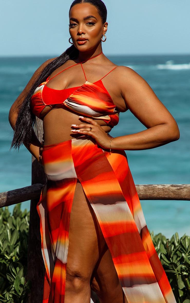 Plus Orange Ombre Double Split Beach Maxi Skirt 4