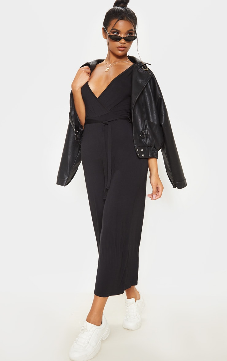 Black Wrap Culotte Jumpsuit 4