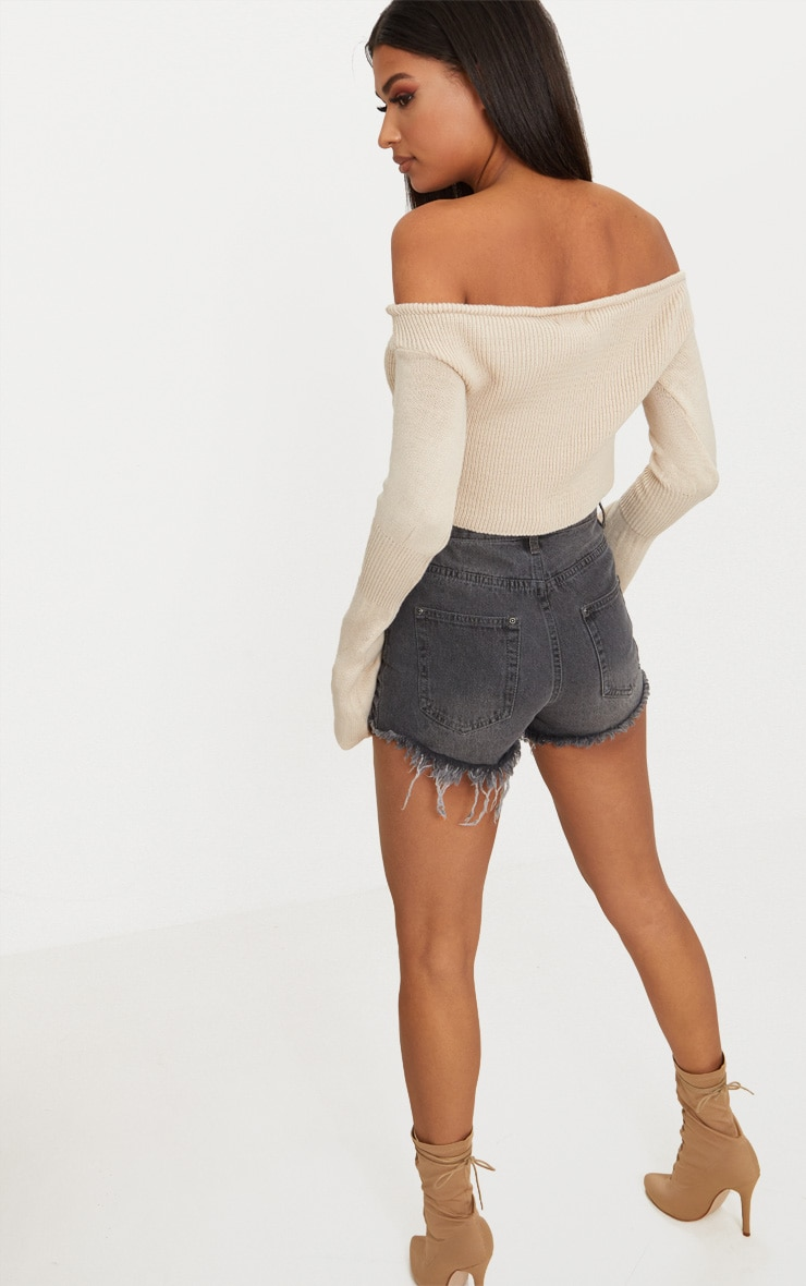 Stone Ruched Knit Extreme Sleeve Crop Jumper 2