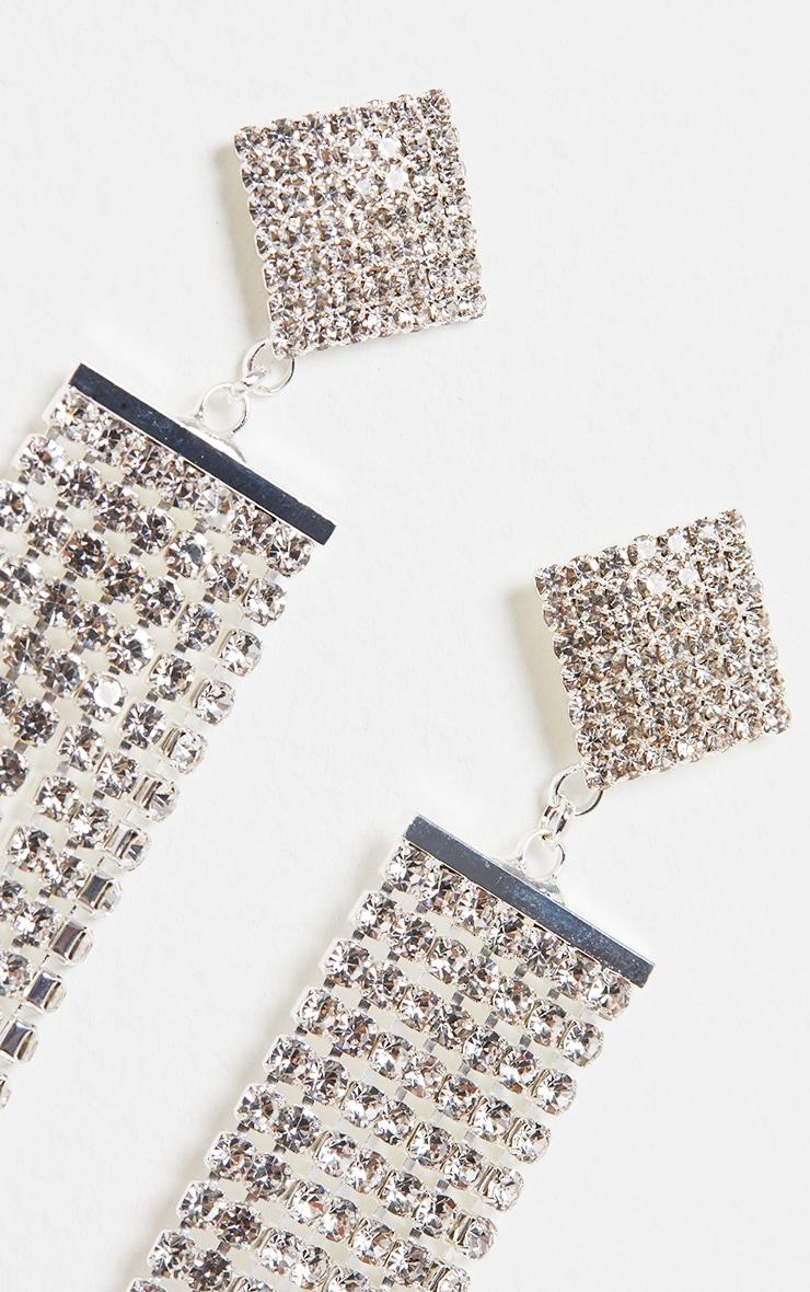 Silver Diamante Chain Drop Earrings 3