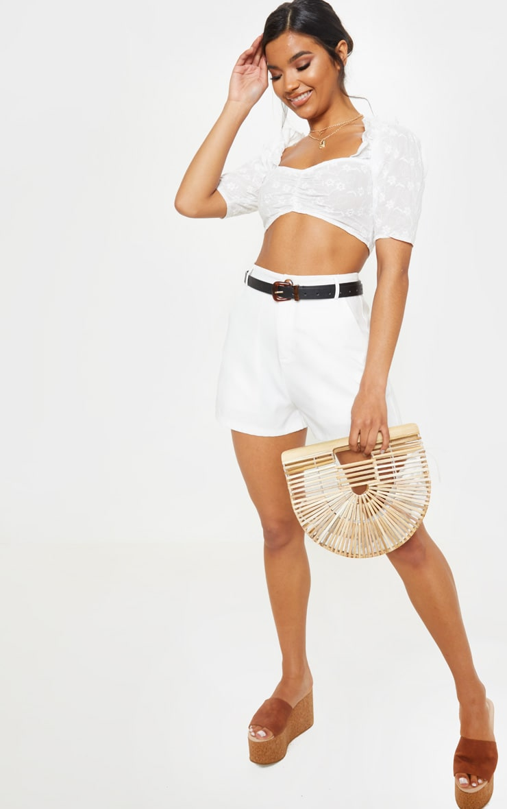White Crochet Bardot Puff Sleeve Crop Top 1