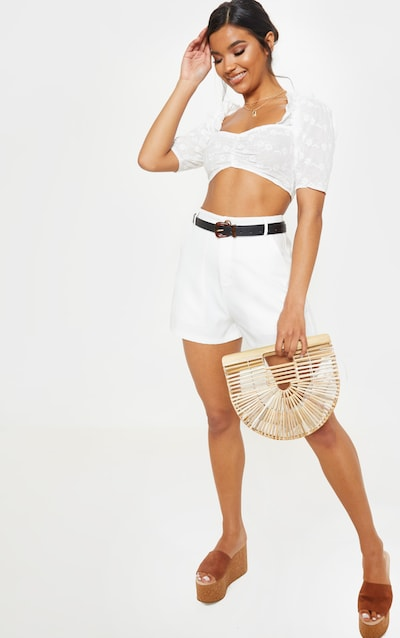 355f81d553ac7 White Crochet Bardot Puff Sleeve Crop Top. More colours available