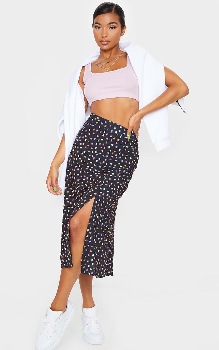 Black Floaty Ditsy Floral Print Midi Skirt 1