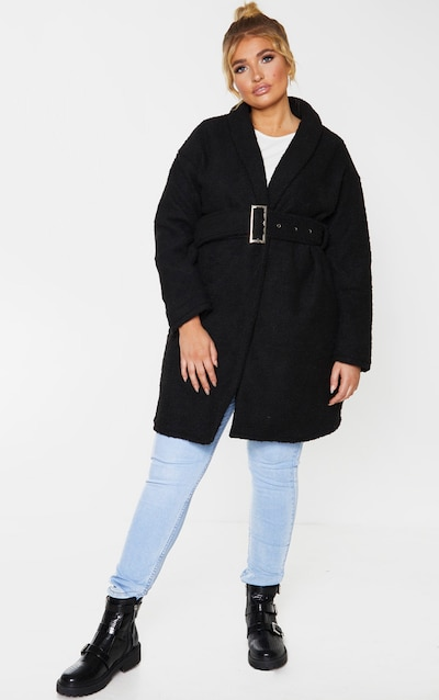 Plus Black Borg Belted Oversized Coat