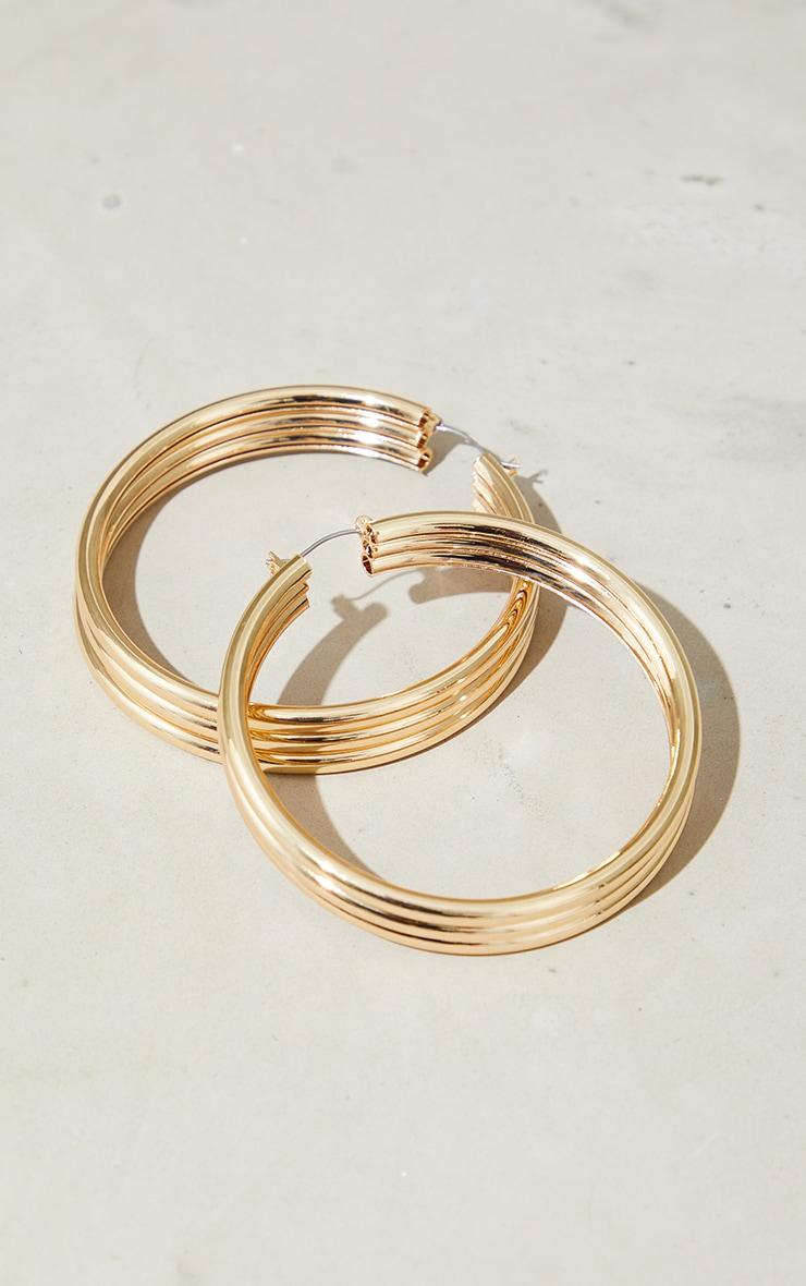 Gold Oversized Ribbed Hoop Earrings 2