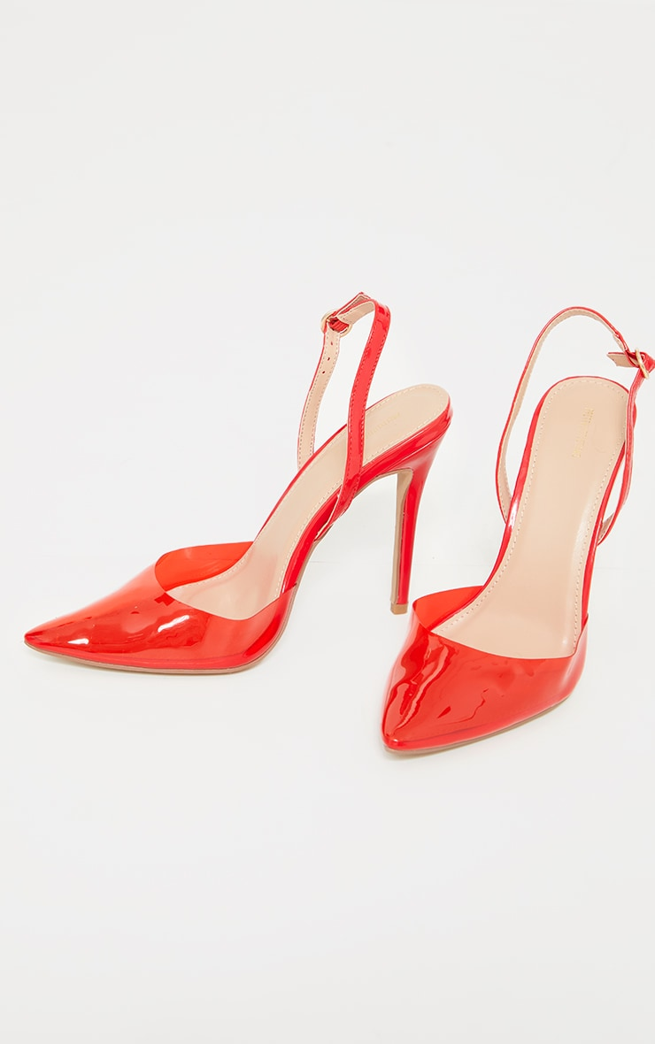 Red Clear Court Heels 4