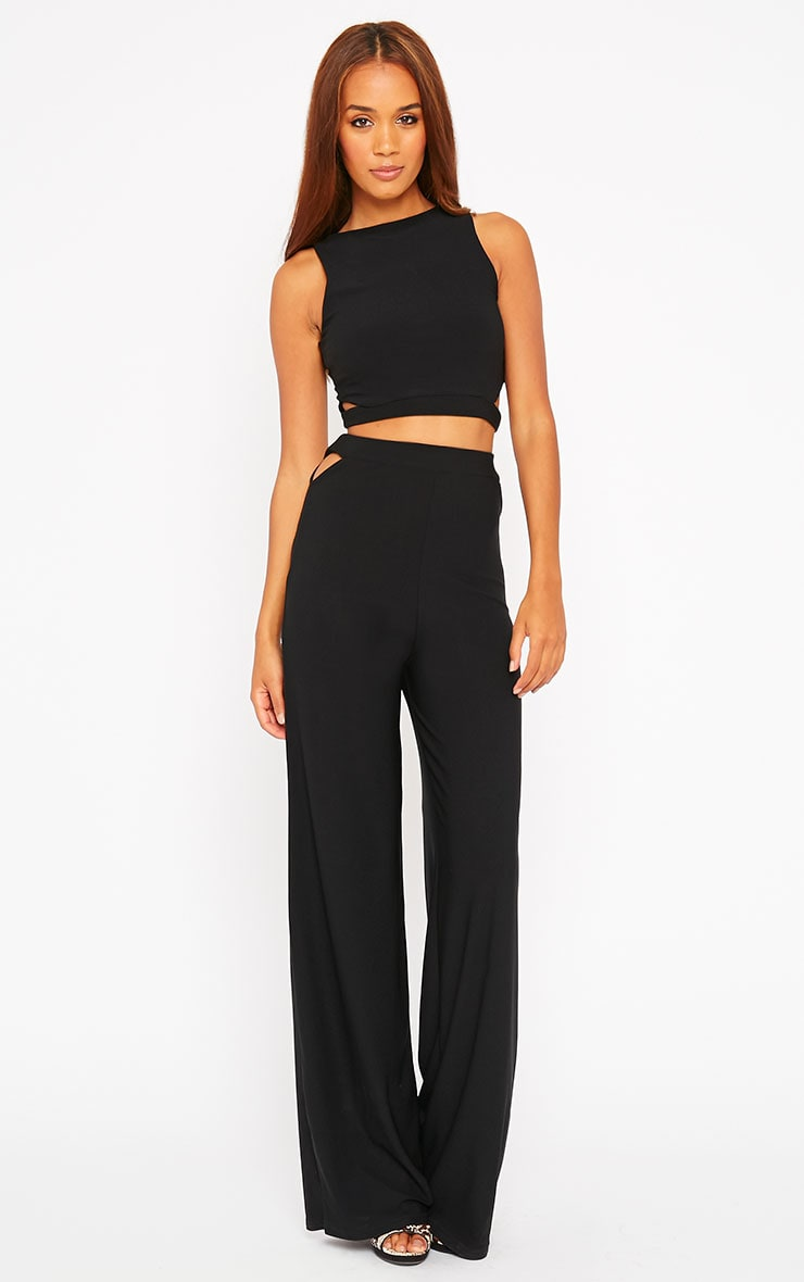 Elphina Black Crepe Cut Out Crop Top 3